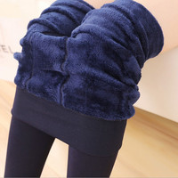 2016 Sexy Autumn Winter Fashion Women's Plus Cashmere Tights High Quality Knitted Velvet Tights Elastic Slim Warm Thick Tights