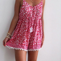 Pom Pom Jumpsuit - Hot Pink and White Swirl with White Pom Poms Romper - beach playsuit