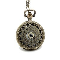 HOTER? Spider-web Carving Pattern Hollow Out Design Antique Style Delicate Pocket Watch - Middle Size