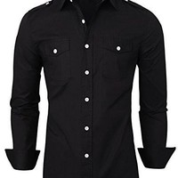 Men's Stylish Shirts Tom's Ware Slim Fit Plain Button Down Dress Shirts