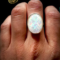 Angel Aura Opalite Moonstone Faceted Silver Ring, White Rainbow Angel Aura Quartz Moonstone Iridescent Crystal Adjustable Ring