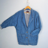 80s Vintage Denim Jacket / Barn Jacket / Dolman Sleeves / Denim Coat
