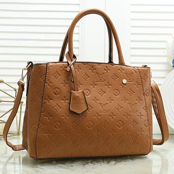 Hipgirls LV Louis Vuitton LV Fashion New monogram print leather shoulder bag handbag crossbody bag Brown