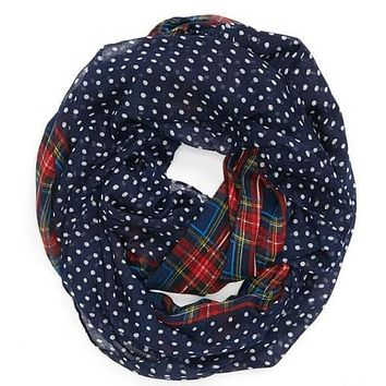 2017 New Fashion Women/Ladies Navy /Red/Beige/Green Color Dotted and Plaid Check Infinity Shawls Scarf Snood Loop Scarves