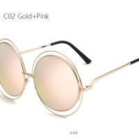 Oversized Round Big Retro Mirror Sun Glasses