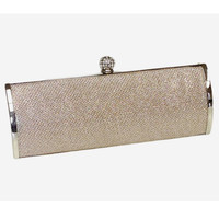 Nude Textured Glitter Top Lock Barrel Clutch