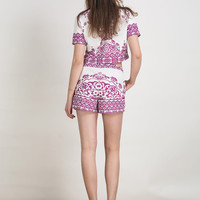 Purple Tile Print Short Sleeve Crop Top With Shorts
