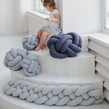 1M/2M/3M Baby Braided Crib Bumpers Knot Pillow Cushion, Four Tied Newborn Nursery bedding,Cot Room Dector
