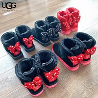 UGG New fashion wave point bow shoes boots women