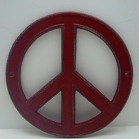 Peace Sign Colonial Heritage Red Cast Iron Circle Wall Decor Rustic Retro Funky 70's Style Shabby Chic Distressed Weathered Wall Art Sign
