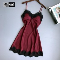 Temptation sexy Wine red Satin nightdress women pyjamas Spaghetti Strap Lace pijamas nightgowns for women lingerie sleepwear New
