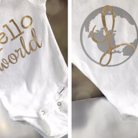 Hello World Newborn Bodysuit - New Baby Gift - Take Home Outfit - Personalized - Gender Neutral - Baby Shower Gift - More Colors
