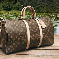 LV classic old chess board for men and women travel bag