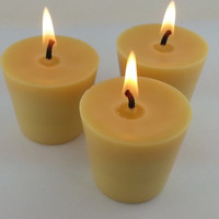 Pack of 4 ORGANIC  Beeswax     Lavender   Votive Candles Burn 15+ Hours Handmade Bees Wax OPENING SPECIAL 9% Scented