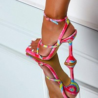 Women Sandals Sexy Summer Shoes Gladiator Clip Toe High Heels Bandage Buckle Strap Pumps Squre Toe Ladies Party Fashion Stiletto