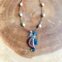 Sea Horse Necklace, Lampwork Glass Necklace, Ocean Necklace, Beaded Necklace, Summer Necklace, 27 Inch Necklace