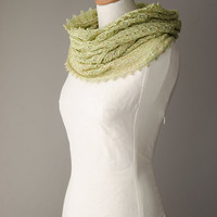 Silk knitted cowl, silk möbius scarf, wool cowl, snood, knitted wrap, light green colour hand dyed yarn 'Tuck'
