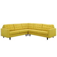 Empress 3 Piece Fabric Sectional Sofa Set in Sunny