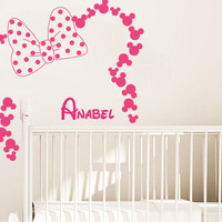 Wall Decal Vinyl Sticker Decals Art Decor Design Disney Custom Baby Name Head Mice Ears Mickey Minnie Mouse Gift Kid Children Nursery(r1177)