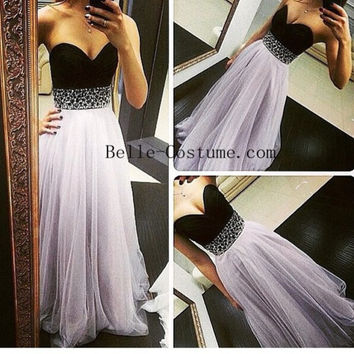 Tulle Sweetheart Prom Dresses, Strapless Prom Dresses 2016, Strapless Evening Dress