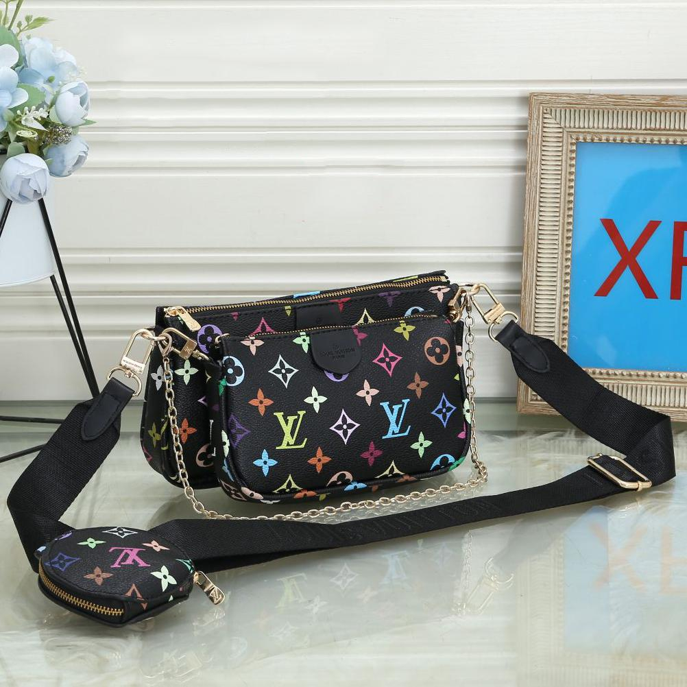Image of LV Louis Vuitton Hot Sale Classic Ladies Three-piece Mahjong Bag Shoulder Bag Shopping Bag Round Small Wallet