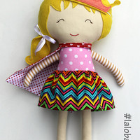 Princess doll with tiara, handmade fabric doll as a gift for toddlers, prescoolers, ragdoll can be personalized and customized