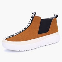 Letter Print Slip-On Round Toe Micro Suede Loafer