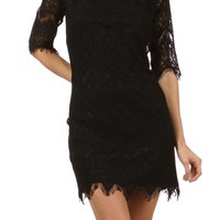 Black Scalloped Crochet Dress