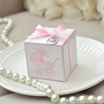 10 Vintage Style Pink Baby Carriage Favor Boxes with Thank You Charm & Self Stick Ribbon