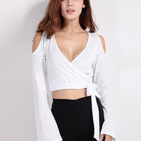 Women Sexy Off shoulder Deep V Cross Tie Strapless Horn Long Sleeved Blouses