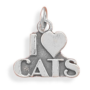 """Sterling Silver """"I love Cats"""" Charm"""