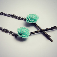aqua rose chain bobby pins, hair clips, bobby pins with chains, blue flower hair accessory, connected bobby pins