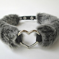 Fluffy Heart Choker, Grey Fur Choker, Furry BDSM Collar, Choker Collar, Chocker