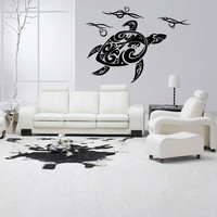 Wall decal decor decals art turtle sea Maritime animal water fin ocean (m969)