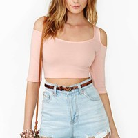 Nasty Gal Made To Stray Crop Top - Peach
