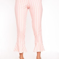 Blush Striped Flare Hem Trousers