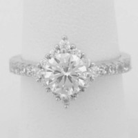 1 Carat Cubic Zirconia Engagement Ring with Rotated Square Halo (Silver) by CZ Sparkle Jewelry®