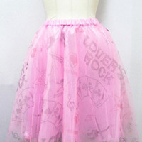 SUPER LOVERS/ Playing Card Motif Knee-Length Tulle Skirt