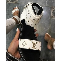 Louis Vuitton LV classic ladies print flat sandals Shoes White