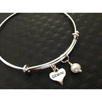 Silver Gemini Heart with Wire Wrapped Pearl Charm on adjustable silver bangle on Expandable Adjustable Wire Bangle Bracelet June Birthstone Gift