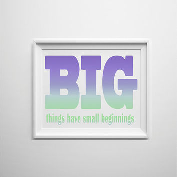 Purple blue and mint ombre motivational wall decor for the home, office or studio. Girly studio art typographic print.