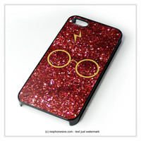 Harry Potter Glasses Red Glitter  iPhone 4 4S 5 5S 5C 6 6 Plus , iPod 4 5 , Samsung Galaxy S3 S4 S5 Note 3 Note 4 , HTC One X M7 M8 Case
