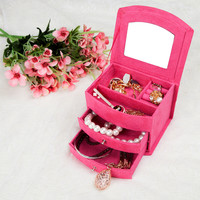Lovely 4 color jewelry box / Cosmetic box organizer /casket /purple, rose-red, pink, red optional/Women's Gifts