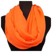 Soft and Smooth Bright Orange Infinity Scarf, Loop Scarf