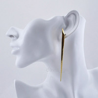"""1Pair Punk Gothic Gold Tone 3.7""""Long Thin triangle earring stud AGF jewelry lady"""