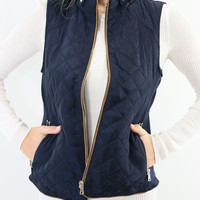 Mystic Forest Navy Quilted Puffer Vest With Contrast Trim