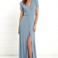 Glamorous Vida Bonita Dusty Blue Maxi Dress