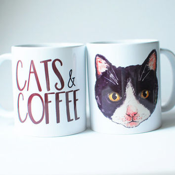 Cat mug, cats and coffee with illustrated watercolour cat face, cute coffee quote mug.