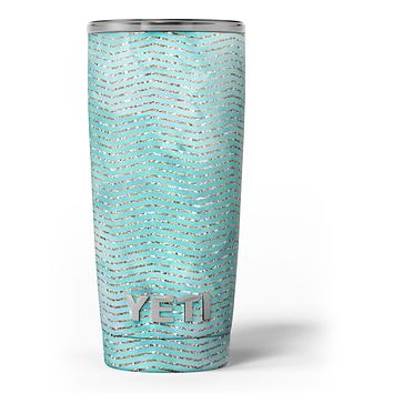 Blue-Green Watercolor and Gold Glitter Chevron - Skin Decal Vinyl Wrap Kit compatible with the Yeti Rambler Cooler Tumbler Cups