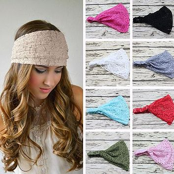 Women Fashion Bandanas Turban Lace Hollow Pattern Hair Band Wide Headband